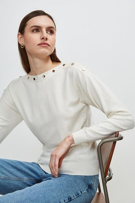 Karen Millen Button Detail Slash Neck Jumper