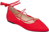 City Classified Red Tassel Twain Ballet Flat