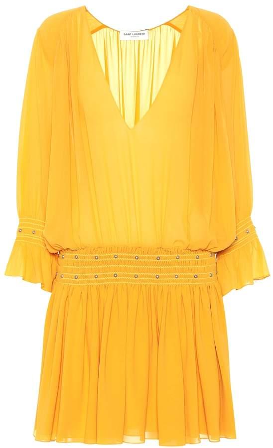 Saint Laurent Silk crepe minidress