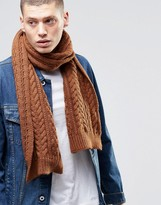 Asos Wool Mix Cable Scarf In Tobacco
