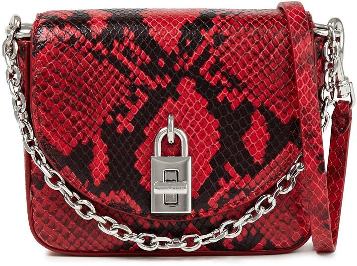 Rebecca Minkoff Chain-trimmed Snake-effect Leather Shoulder Bag