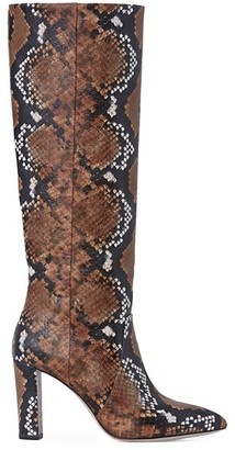 Paige Carmen Snakeskin-Embossed Leather Knee-High Boots