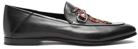 Gucci Brixton Snake Applique Leather Loafers - Mens - Black Multi