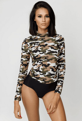 Kands London Camo Back-Zip Fitted Top