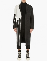 Rick Owens Black Denim Bleach-Stain Coat