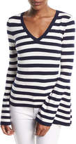 Milly V-Neck Bell-Sleeve Pullover Top