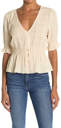 Lush Shirred Button Top