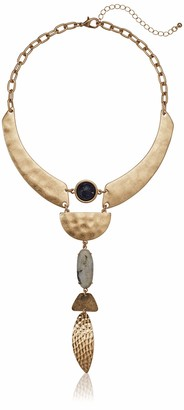 Danielle Nicole Women's Prowess Statement Y Shaped Necklace Worn Gold/Blue One Size