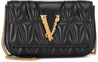 Versace Virtus quilted-leather shoulder bag
