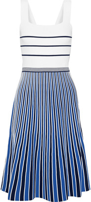 Diane von Furstenberg Yasmin Pleated Striped Knitted Dress