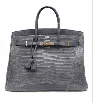 Hermes Birkin 35 Blue Crocodile Handbags