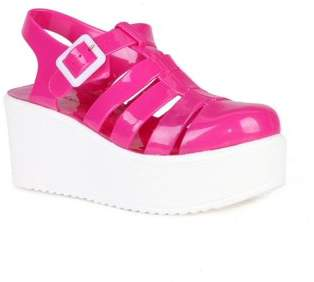 Nature Breeze caged Jelly Platform Women's Sandals in Fuchsia