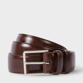 Paul Smith Men's Brown Leather Double Keeper Classic Suit Belt