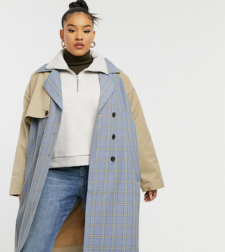 Wednesday's Girl Curve belted trench coat in beige with check panels