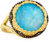 Armenta Old World Turquoise & Moonstone Doublet Scallop Ring w/ Diamonds, Size 7