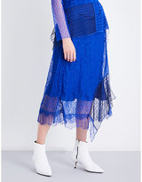 3.1 Phillip Lim Contrast-panel high-rise lace skirt