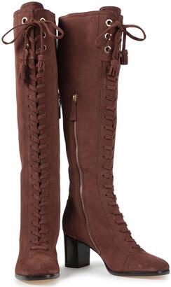 Alberta Ferretti Tasseled Suede Knee Boots