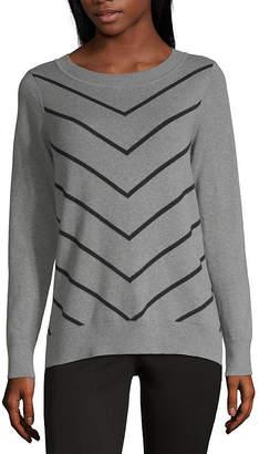 Liz Claiborne Fall 19 Womens Crew Neck Long Sleeve Chevron Pullover Sweater