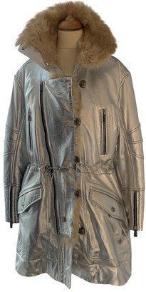 Barbara Bui Silver Leather Coat for Women