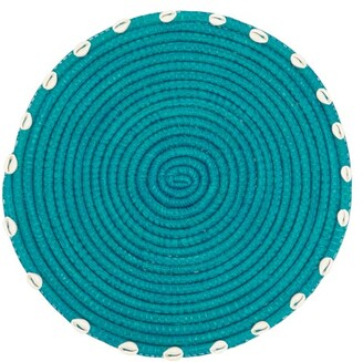 Sensi Set Of Two Shell-embellished Straw Placemats - Blue