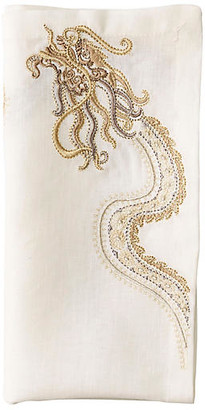 Kim Seybert Set of 4 Imperial Dragon Dinner Napkins - White/Gold