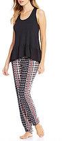 Josie Ruffled Racerback & Tile-Print Challis Pajamas