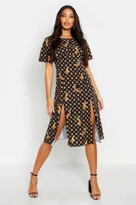 boohoo Coin Print Split Front Midi Dress
