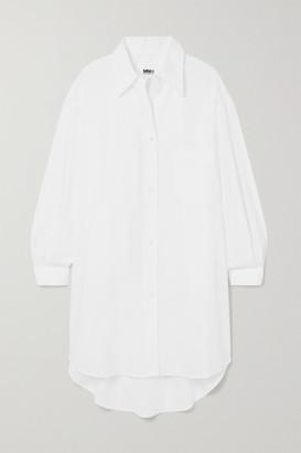 MM6 MAISON MARGIELA Oversized Embroidered Cotton-poplin Shirt Dress - White