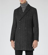 Reiss Basset - Double-breasted Coat in White, Mens