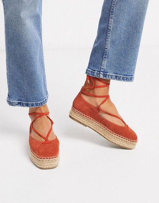 ASOS DESIGN Jenny tie leg leather espadrilles in rust
