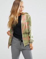 Maison Scotch Tropical Palm Print Bomber Jacket
