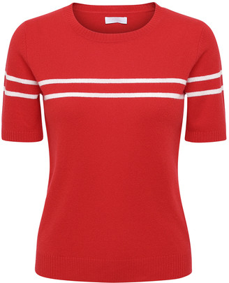 2nd Day 2ND Mila short sleeve cashmere sweater in red with white stripes - SMALL - Red
