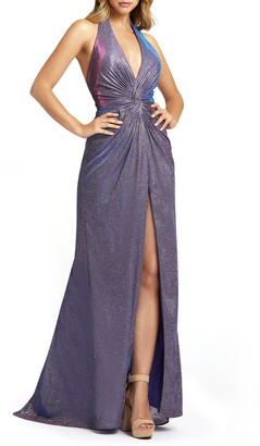Mac Duggal Sparkle Metallic Halter A-Line Dress with Train