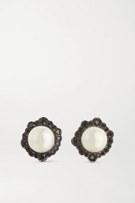 Kimberly 18-karat Blackened White Gold, Pearl And Diamond Earrings - one size