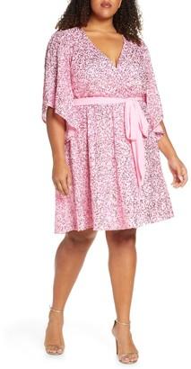 Marée Pour Toi Sequin Faux Wrap Dress