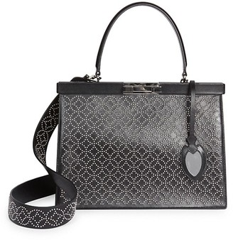 Alaia Medium Cecile Arabesque Studded Leather Satchel