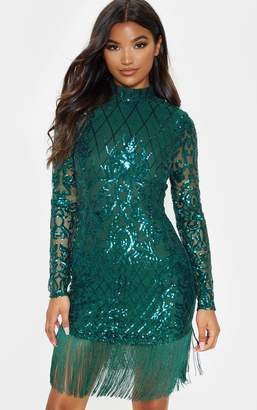 PrettyLittleThing Emerald Green Sequin Long Sleeve Tassel Hem Bodycon Dress