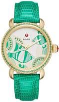 Michele Seaside Topaz Fish Dial Watch with Diamonds, Emerald