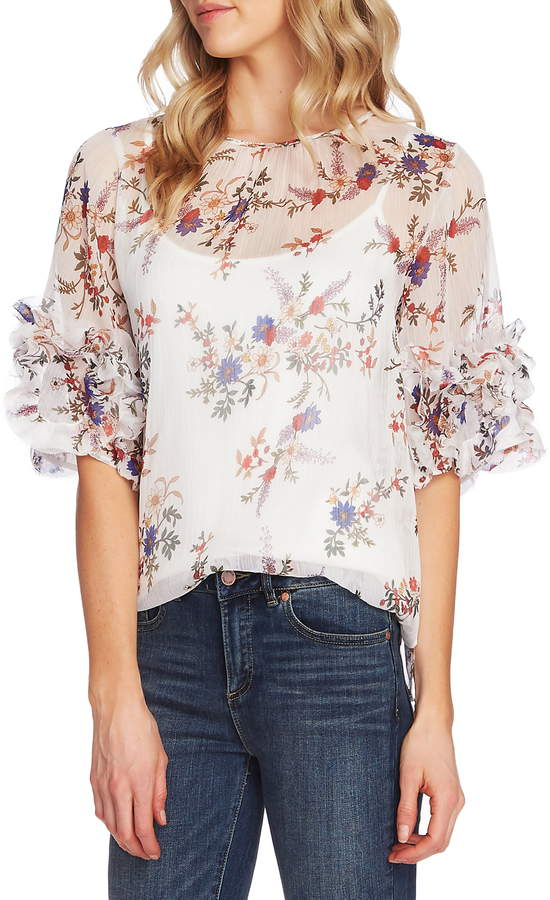 Vince Camuto Country Bouquet Ruffle Sleeve Blouse