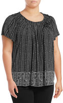 Style And Co. Plus Printed Pleat Neck Blouse