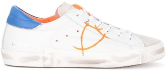 Philippe Model Paris X Model Sneakers Made In White Leather With Light Blue Spoiler