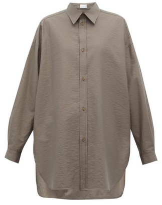Raey Oversized Crinkled Cotton-blend Shirt - Dark Grey
