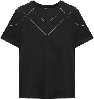 Maje Tabloid Studded Modal And Wool-blend Jersey T-shirt