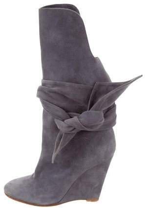 Chloé Suede Round-Toe Ankle Boots