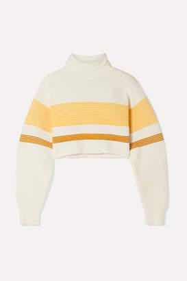 Nagnata - Net Sustain Cropped Striped Ribbed Organic Cotton Turtleneck Sweater - White