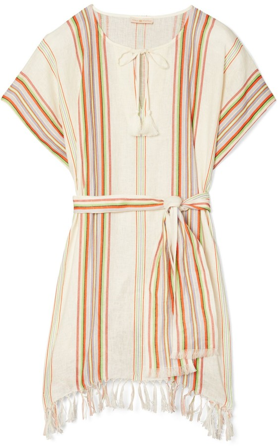 Tory Burch Striped Belted Tunic Dress