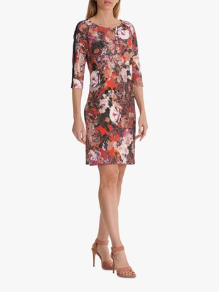 Betty Barclay Sporty Floral Dress, Red/Dark Blue