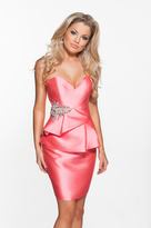 Terani Couture H3606 Strapless Embellished Peplum Cocktail Dress