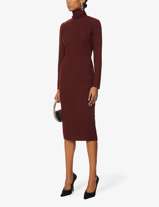 Alex Perry Lauchlan turtleneck crepe midi dress