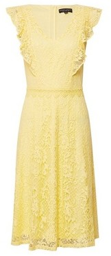 Dorothy Perkins Womens Yellow Lace 'Taylor' Skater Dress, Yellow
